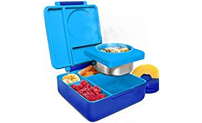 OmieBox Bento Box for Kids - Insulated Bento Lunch Box with Leak Proof Thermos Food Jar - 3 Compartments, Two Temperature Zones - (Single)
