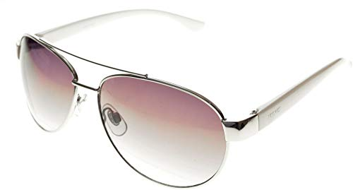 Nine West Womens Metal Aviator Style Sunglasses One Size Silver ()