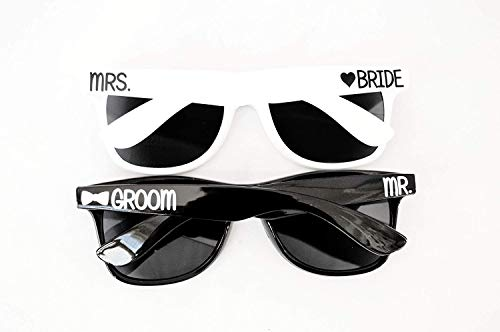 Mr and Mrs Bride and Groom Sunglasses Set by BellaCuttery for Honeymoon or Beach Destination Wedding]()