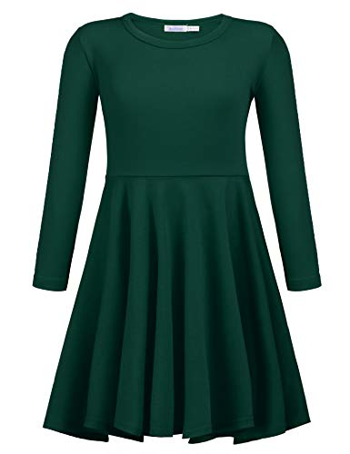 Arshiner Girls' Cotton Long Sleeve Twirly Skater Party Dress, Grass Green, 5 Years