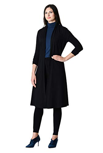 cardigan open knit Black eShakti Cotton front Women's Fw8gHTq