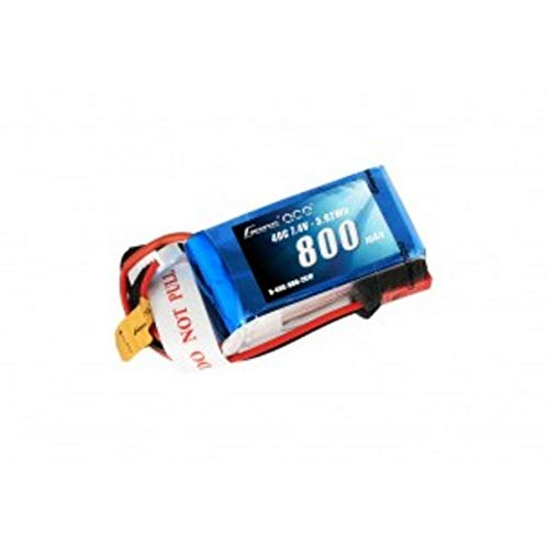 Gens ace 800mAh 2S 7.4V 40C LiPo Battery Pack with JST-SYP Plug for 250 Helicopter 800mm Warbird (Jst Battery 35c Lipo)