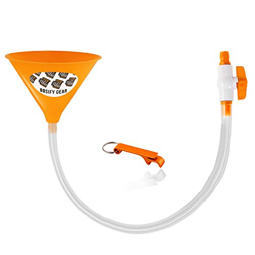 (Bosify, 30 Inch Beer Bong Funnel with Leak-Proof Valve - Long Extra Thick Kink-Free Tube for Unrestricted Flow with Extra Wide 8 Inch Funnel (Yellow, Single Hose))