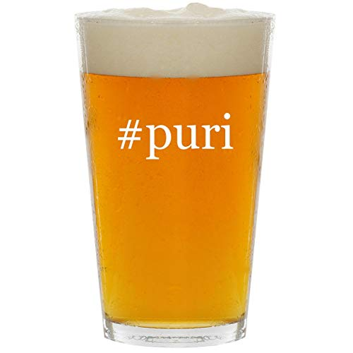 - #puri - Glass Hashtag 16oz Beer Pint