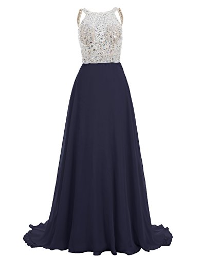 BeryLove Women's Crew Neck Straps Beaded Long Chiffon Prom Dress Party Gown Navy Size (Joli Prom Prom Gown)