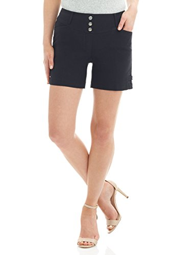 - Rekucci Women's Ease Into Comfort Stretchable Pull-On 5 inch Slimming Tab Short (14,Black)