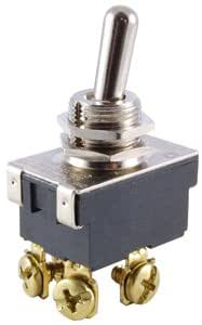 """NTE Electronics 54-622 Bat Handle Toggle Switch, SPDT Circuit, ON-NONE-ON Action, Nickel Plated Brass Actuator, 0.25"""" Quick Connect Terminals, 3/4 hp, 20 Amp, 125V"""