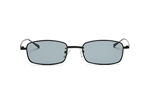 FEISEDY Vintage Slender Square Sunglasses Retro Small Metal Frame Candy Colors B2295 Black/Smoke