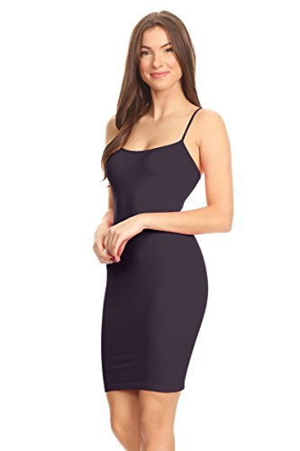 Cami Camisole Long Purple Dress Women's Basic Spaghetti Slip Strap Dark Seamless Simlu ZqgRW