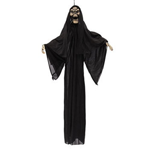 [Halloween Prop Black Hanging Witch Animated Haunted House Yard Decor] (Hanging Halloween Props)