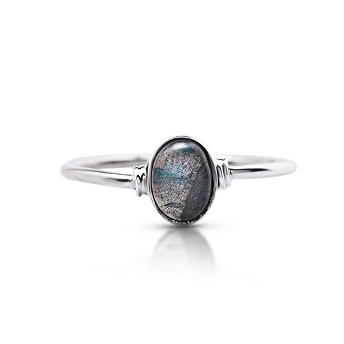 Delicate Stone - Koral Jewelry Labradorite Oval Stone Delicate Ring 925 Sterling Silver Vintage Boho Chic US 5 6 7 8 9 (5)