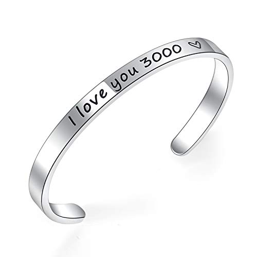 BESTTERN Inspirational Bracelet Cuff Bangle Mantra Quote Keep Going Stainless Steel (I Love You 3000)