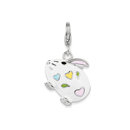 (Amore La Vita Sterling Silver Enameled Bunny Rabbit with Lobster Clasp Charm)