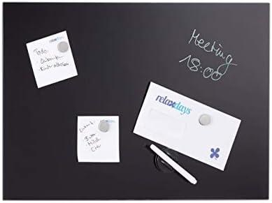 Relaxdays 60 x 40 cm, schwarz Glas-Magnetboard, beschreibbar, Memoboard, 3 Magneten, Sicherheitsglas, Magnettafel