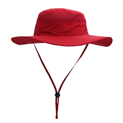 - Home Prefer Outdoor Bucket Hat for Fishing Hiking Gardening Safari Sailing Wide Brim Mesh Sun Hat for Men Women Red