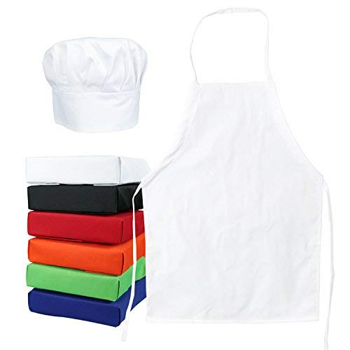 Kids Aprons Cooking (Odelia ObviousChef Kids - Child's Chef Hat Apron Set, Kid's Size, Children's Kitchen Cooking and Baking Wear Kit for Those Chefs in Training, Size (M 6-12 Year, White))