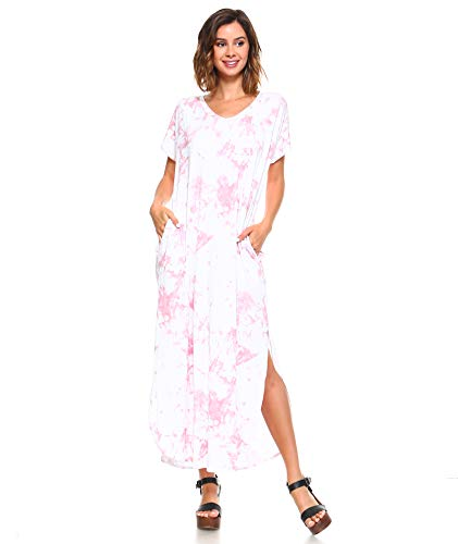 (Isaac Liev Tie Dye Short Sleeve Maxi Dress with Pockets Loose Casual Long Dress with Scoop Neck, Splits & Side Pockets (X-Large, Marsalla & White))