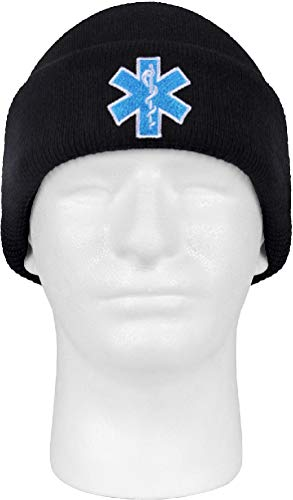 EMT EMS Paramedic Knit Beanie Watch Cap Embroidered Star Of Life Logo ()