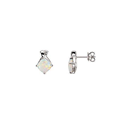 Diamond Bow Cut Ring Cushion (Cushion Cabochon Opal & Diamond Post Earrings in 14k White Gold)