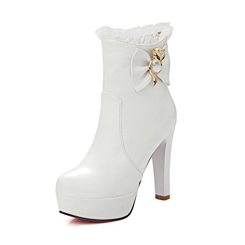 A&N Girls Chunky Heels Spun Gold Bowknot Metal Ornament Imitated Leather Boots White VPMzUHsw9E