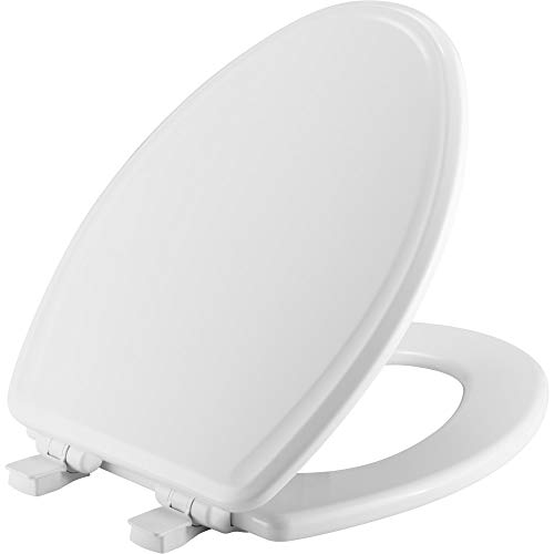 BEMIS 1600E3 000 Toilet Seat will Slow Close and Never Come Loose, ELONGATED, Durable Enameled Wood, White
