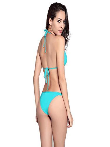 iLUGU Two Pieces Bikini for Women Triangle Tops Briefs Swimwear Swimsuit Beachwear Blue