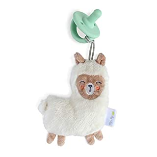 Itzy Ritzy Pacifier and Lovey Set; Detachable Plush Llama and Coordinating Green Silicone Pacifier; Ideal for Ages 0 Months and Up, Llama