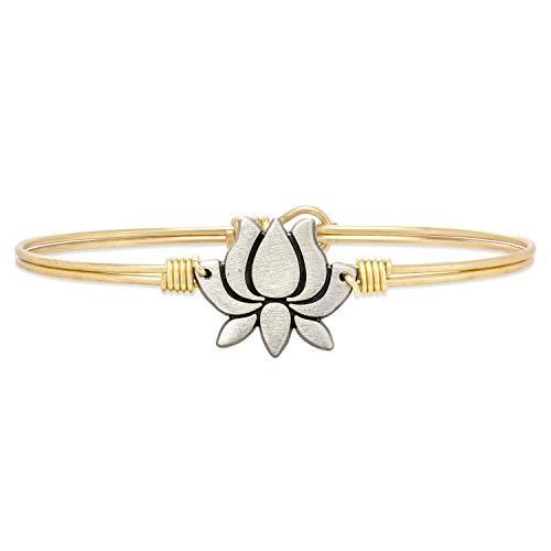 - Luca + Danni Lotus Flower Bangle Bracelet - Petite/Brass Tone