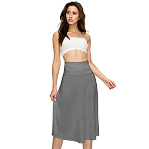 Lock and Love Women's Solid Ombre Lightweight Flare Midi Pull On Closure Skirt S-XXXL Plus Size 26