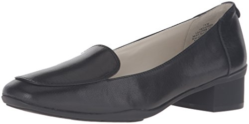 Leather Loafer Heels (Anne Klein Women's Daneen Leather Slip-On Loafer, Black, 7.5 M US)