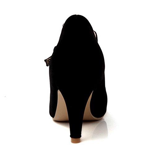 Donna Tacco VogueZone009 Chiusa Fibbia A Luccichio Punta Ballerine Scarpe Punta Puro Spillo A dqqtS