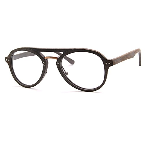 TIJN Aviator Woodgrain Eyeglasses Frame Faux Wooden - Aviator Eyeglasses Prescription Mens