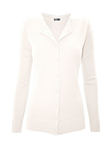 OLLIE ARNES Women's Supple Classic Knit Round Neck Button Down Cardigan Sweater 80_IVORY M