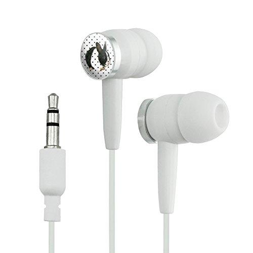Adorable Bunny Polka Dots Kid's Birthday Easter Novelty in-Ear Earbud Headphones - White]()