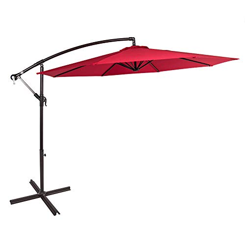 Sundale Outdoor 10 Feet Aluminum Offset Patio Umbrella with Crank and Cross Bar Set, Cantilever Umbrella for Deck, Garden, Backyard, 8 Steel Ribs, 100% Polyester Canopy Shade (Red)