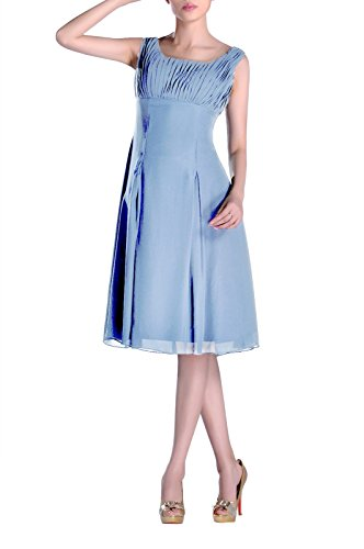 Formal Cornflower Knee Occasion Bridesmaid Special Mother Dress of Brides Blue Length the Pleated qtw6RxOBPw