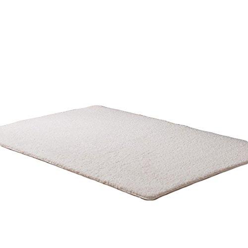 LvRao Haus Teppiche Wollteppich Shaggy Rechteck Schlafzimmer Matten Weiß 60cmx160cm