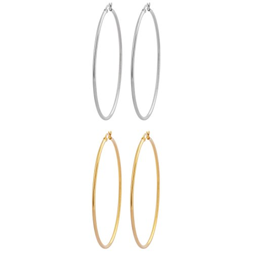 Edforce Stainless Steel and 18k Gold Plated Rounded Hoops Earrings, Set of 2 (60mm Diameter) (Casual Gold Earrings)