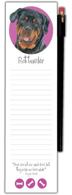 Wellspring Magnetic Refrigerator Note Pad with Pencil, Dog Breeds, (Rottweiler Notepad)