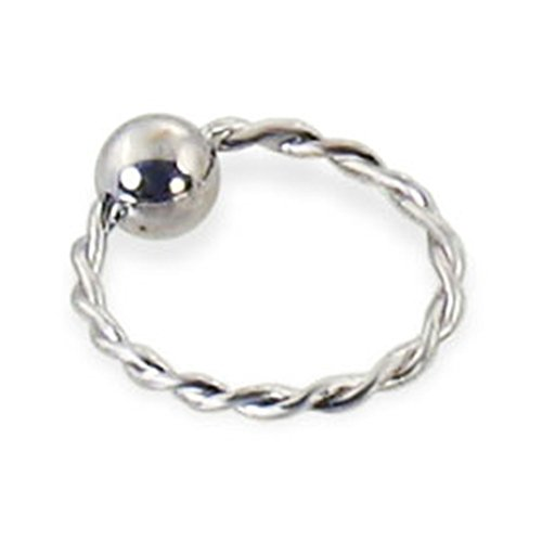 - MsPiercing 14K Gold Twisted Captive Bead Ring, Gauge: 16 (1.2Mm), 14K White Gold, 5/16