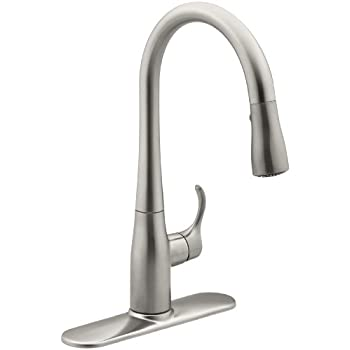 k down kohler dp vs simplice pull kitchen stainless single hole faucet ac faucets