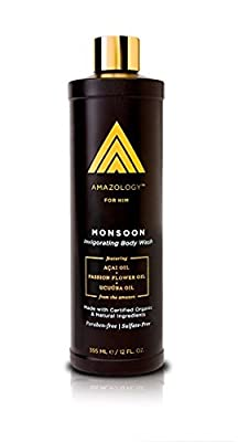 Amazology Monsoon Body Wash for Men – Hydrating & Revitalizing Sulfate-Free Body Cleanser for Men's Skin Care
