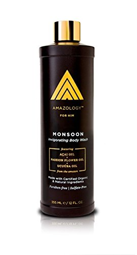 Men Hydrating Body Wash (Amazology Monsoon Body Wash for Men - Natural Hydrating & Revitalizing Sulfate-Free Body Cleanser for Men's Skin Care)