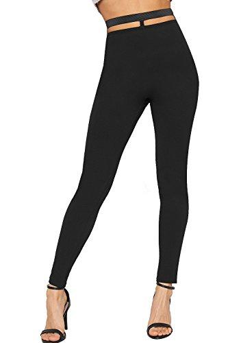 WEARALL - Femmes Coupe Dehors Ouvert Dos tendue Maigre Jambe Pantalon Nouveau Dames Pantalon Plaine Crpe - 34-40 Noir