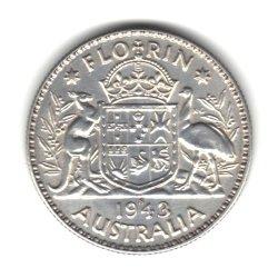 1943-S Australia Florin (2 Shillings) Coin KM#40 - 92.5% Silver