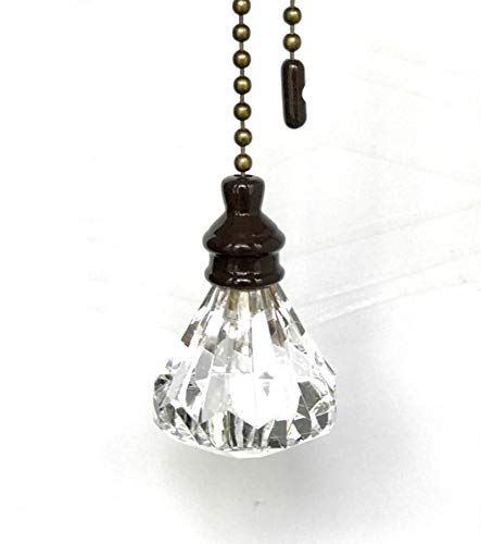 Set of 2 Acrylic Clear Diamond Ceiling Lighting Fan Pull with Dark Bronze Chains ()
