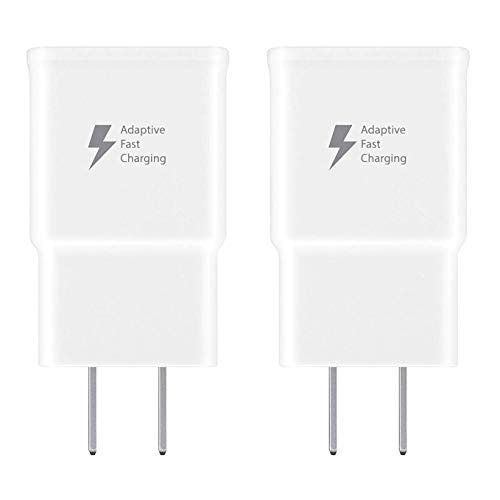 (Spater Adaptive Fast Charging Wall Charger Compatible with Samsung Galaxy Note9 / Note8 / Note5 / S10 / S9 / S8 / S8 / S7 / S6 Plus, Galaxy S8 Active and More (2 Pack) (White))