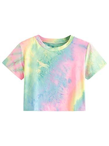 SweatyRocks Women's Short Sleeve Tie Dye Crop T-Shirt Casual Tee Tops Pink Blue Small ()