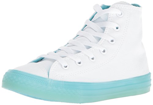 Converse Girls' Chuck Taylor All Star Translucent Color Midsole High Top Sneaker, White/Bleached Aqua, 10.5 M US Little Kid