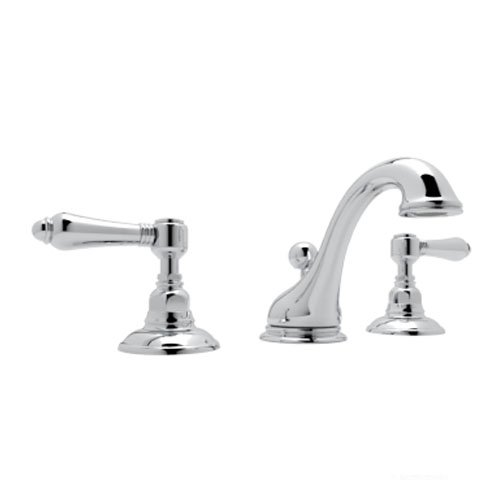 Rohl A1408LMAPC-2 Country Bath Viaggio Widespread Lavatory Faucet with Metal Levers Pop-Up and C Spout, Polished Chrome